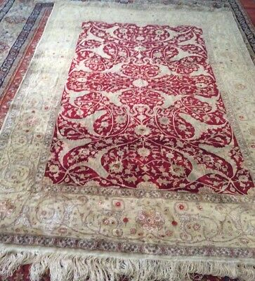 Authentic Hereke 8 X 10 Red Pistachio Green Turkish Silk Hand Made Rug Antique