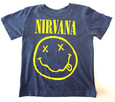 Nirvana Concert  T-Shirt Toddler (2T 3T 4T) Smiley Face HEATHER KIDS TEE-NEW!