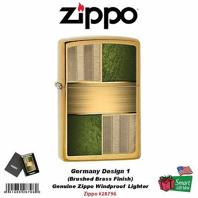 Zippo Germany Design 1, Brushed Brass, Genuine USA Windproof Lighter #28796