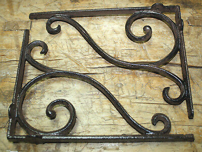 2 Cast Iron Antique Style LARGE SCROLL Brackets Garden Braces Shelf Bracket