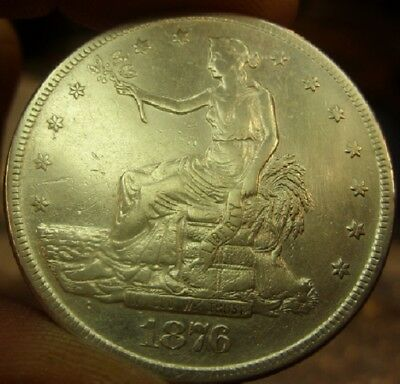 1876 S Trade Dollar T$1 cleaned TOOLED Lustrous AU details