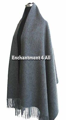 "New Elegant Large 80""x28"" Gray 4-Ply 100% Pure Cashmere Women Scarf Shawl Wrap"