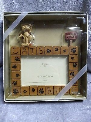 NWT Sonoma Picture Frame Cat Theme 4x6 Still in Original Box