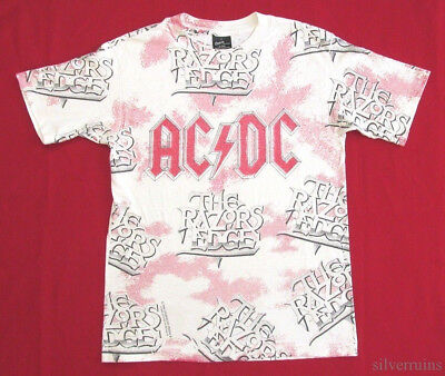 AC/DC Vintage T Shirt 90's CONCERT 1990 Razors Edge TOUR Allover Print ROCK BAND