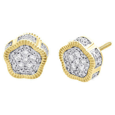 10K Yellow Gold Real Diamond 3D Pentagon Fluted Studs 9.5mm Pave Earrings 1/2 CT