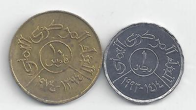 2 DIFFERENT COINS from the YEMEN REPUBLIC - 1974 10 FILS & 1993 1 RIYAL