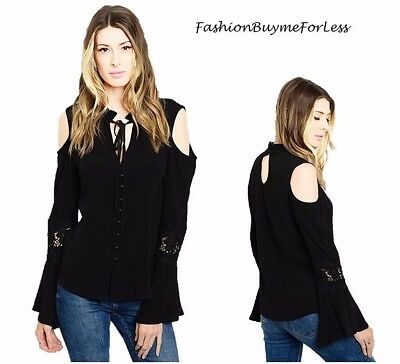 Black Victorian Gothic Steampunk Cold shoulder Bell Sleeve Lace Blouse Top S M L