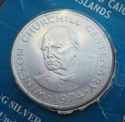 1974 Turks and Caicos Islands 20 Crowns - Winston Churchill - Silver (S856)