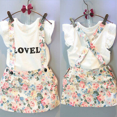 2PCS/Set Kids Baby Girl Tops T-shirt Skirt Overalls Strap Skirt Outfits Clothes
