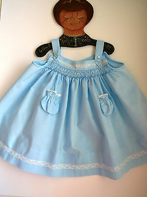 Vintage Baby Girls Sundress by Baby Togs Size Small Robin Egg Blue Smocked Top