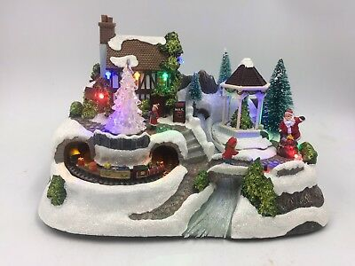 Animated Christmas Village with Rotating Tree (31cm Wide)