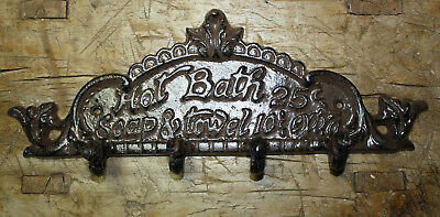 Cast Iron HOT BATH 25 Cents Barber Shop Sign Coat Hat Towl Hook Hanger Rack