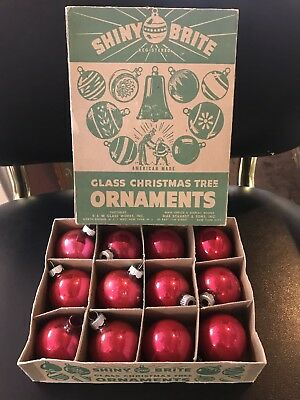 Vintage 40s Shiny Brite Boxed Set Dark Pink Red Mercury Glass Ornaments Sweet