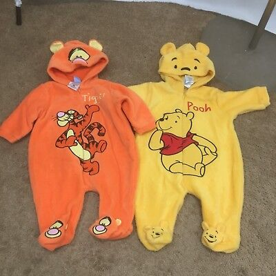 Lot Of 2 Disney Tigger & Poo Unisex 0-3M One Piece Outerwear VEUC