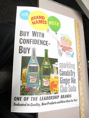 CANADA DRY GINGER ALE 1960s advertising store display sign cartoon kid balloons
