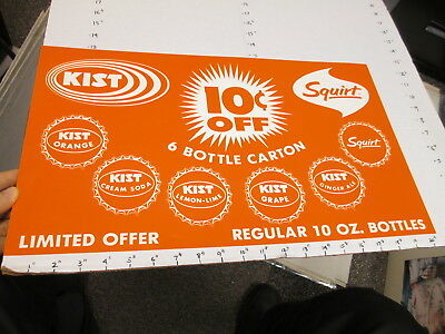 KIST soda 1960s store display sign US paper poster grape SQUIRT bottle cap #1