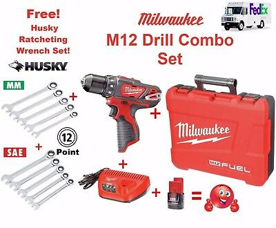 M12 DRILL+Belt Clip+Case+Charger+Lithium Battery+ FREE Ratcheting Wrench Set