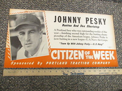 Johnny Pesky Boston Red Sox baseball WWII 1941 Navy Portland OR store sign