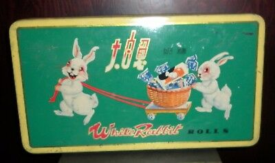 Vintage  Chinese White Rabbit Candy Tin  Fair  Condition