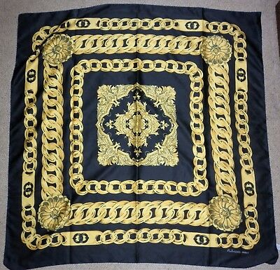 Vintage  Italian  Polyester Chain Print  Scarf Excellent Condition