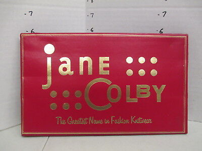 JANE COLBY KNITWEAR sweater 1950s women clothing store display sign RED