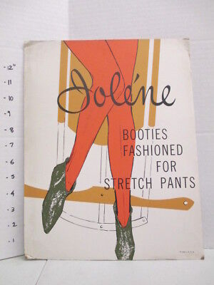 JOLENE BOOTIES SHOES 1960s store display sign women's clothing stretch pants