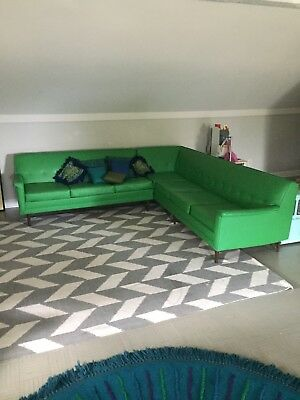 Vintage Vibrant Green Mid Century Modern Sectional by Koehler