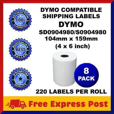 8 Rolls SD0904980 Compatible Dymo 4XL S0904980 Shipping Labels 104mm x 159mm