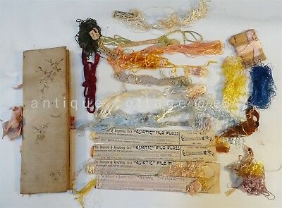 LOT antique EMBROIDERY FLOSS in HANDMADE FABRIC EMB ORGANIZER brainerd armstrong