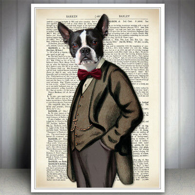 Dog Art Print Vintage Antique Dictionary Style Book Page Wall Boston Terrier Old