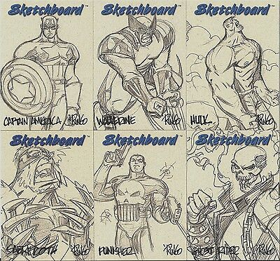 1998 Marvel Creators Collection MCC98 SKETCHBOARD SET (23) - TAN or GRAY GREY