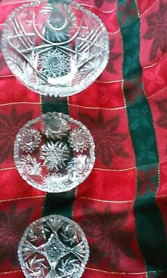 "Sawtooth Cut Glass Bowls (3) 8"" 6""& 4.75"""