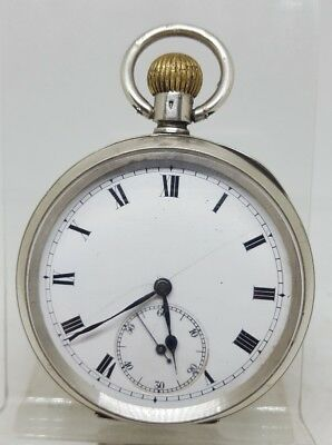 BIG Antique solid silver Perfecta gents pocket watch c1900 working