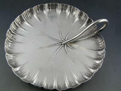 Unusual Sterling WALLACE handled Dish Aesthetic Lily Pad ~ Realistic in design