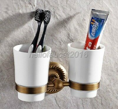 Antique Brass Toothbrush Holder Double Ceramic Cup Holder Wall Mounted lba275