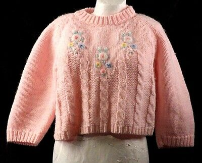 Vintage 1950s Marshall Fields Pink Acrylic Sweater Girls Size 3-6 Months Button