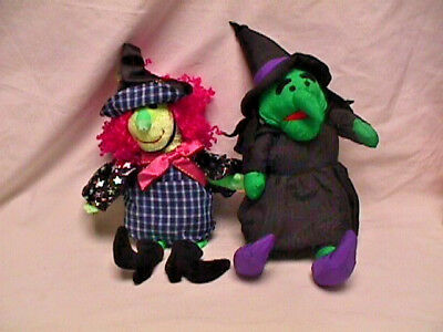 Lot 2 Cute Plush Green WITCH for HALLOWEEN! Ty Beanie Baby Scary, Puffalump Type
