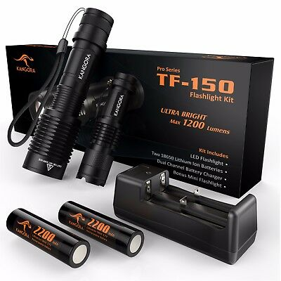 LED Flashlight Kit - 5 Modes - Bright Tactical Handheld 18650 Rechargeable Torch