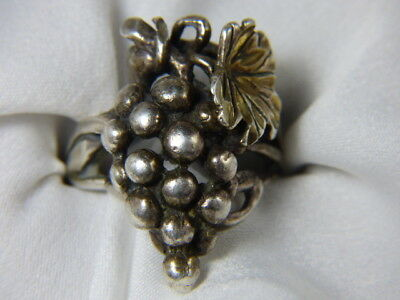 Sterling Silver Ring, Vintage, Custom Crafted Grapes On Vine
