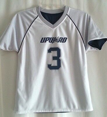 UPWARD White/Blue Reversible SPORTS Jersey #3 Size Youth MED (Play with Purpose