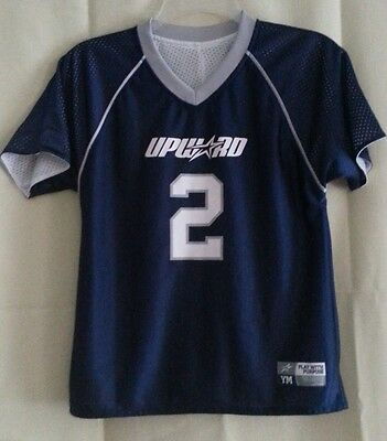 UPWARD White/Blue Reversible SPORTS Jersey #12 Size Youth MED (Play with Purpose