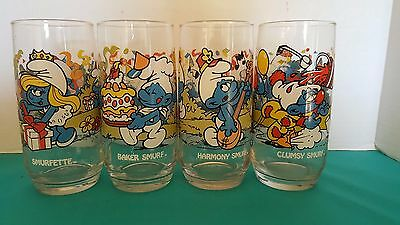 The Smurfs Set of 4 Promotional Vintage Collectible Drinking Glasses
