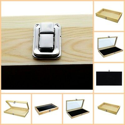 Display Box Wood Glass Top Lid Black Pad Case Medals Awards Jewelry Knife New