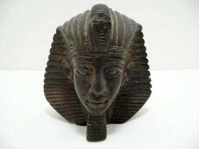Antique Carved STONE Egyptian Pharoah Bust Figure Head Paperweight