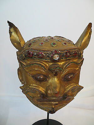 Rare Burmese style Gilt Wooden Head of Yaksha, Thai Mythical Deity / God c. 1900