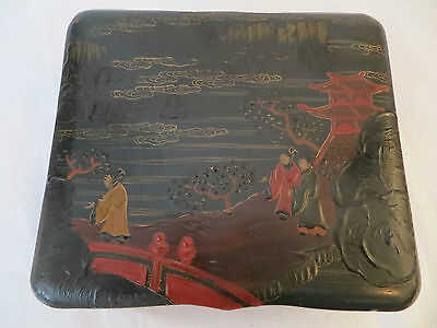 Antique Japanese Lacquer Jewellery Box Garden Scene Raised Surface Paint c 1820s