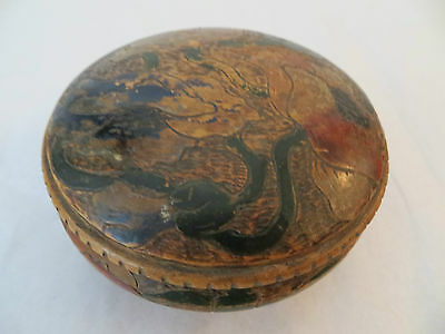 Antique Rare Pokerwork Lidded Bowl Hand-Carved Hand Painted Decorative Box