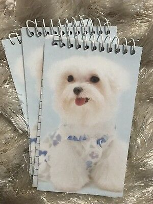 Lot of 3 Adorable MALTESE Dog Notepads~New~Great Stocking Stuffers!