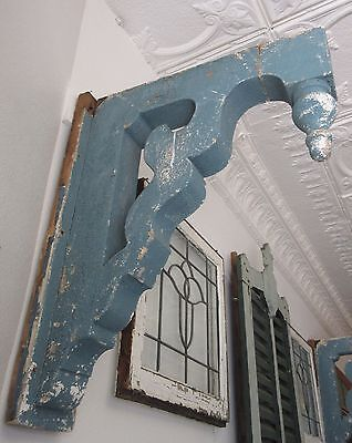 Pair Large Antique Blue Corbels Architectural