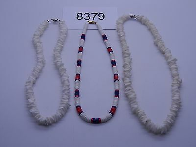 Vintage Jewelry LOT OF 3 Necklaces WHITE HEAVY BEADS 8379